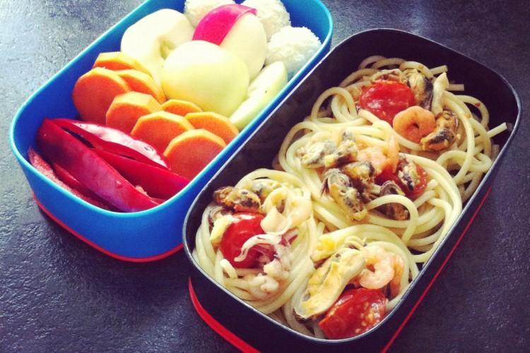 Рецепт бенто №25. Паста с морепродуктами
