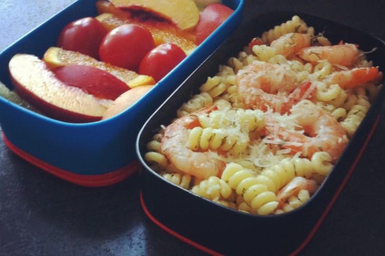 Рецепт бенто №13. Паста с креветками в лимонном соусе