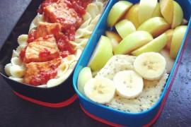 Рецепт бенто №2. Паста с лососем, творожный пудинг и фруктовый салат
