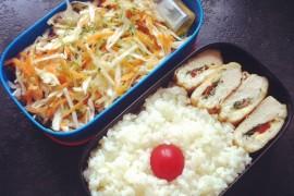 Рецепт бенто №54. Куриная грудка с рисом и овощным салатом