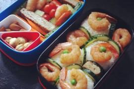 Рецепт бенто №8. Рисовые шарики и креветки, японский омлет