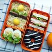 Рецепт обеда булгур, жареная свинина, яйцо, мини-сэндвич и пончик
