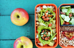 Постный бенто: картофель, фаршированные шампиньоны овощами, салат и орехи