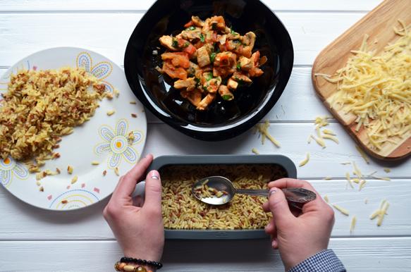 рецепт рисовой запеканки с курицей и грибами с фото